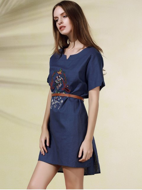 fashion High Low Embroidered Side Split Dress - BLUE ONE SIZE Mobile
