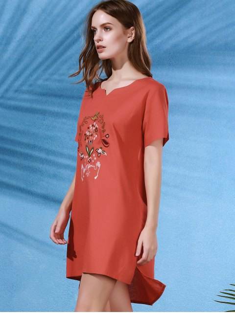 trendy High Low Embroidered Side Split Dress - JACINTH ONE SIZE Mobile