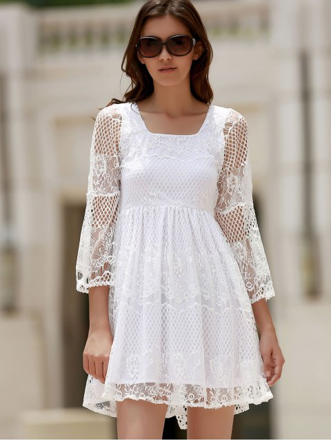 White Lace Mesh Splicing encolure carrée robe à manches Flare - Blanc XL Mobile
