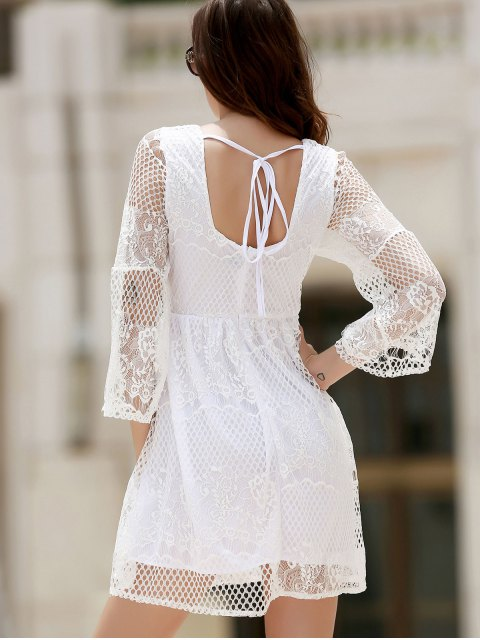 outfit White Lace Mesh Splicing Square Neck Flare Sleeve Dress - WHITE S Mobile