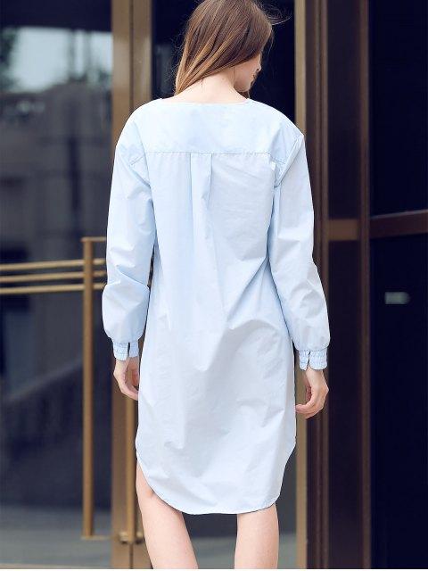 online Solid Color Spliced V-Neck Long Sleeve Shirt Dress - LIGHT BLUE XL Mobile