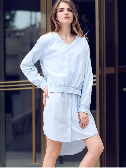 best Solid Color Spliced V-Neck Long Sleeve Shirt Dress - LIGHT BLUE L Mobile