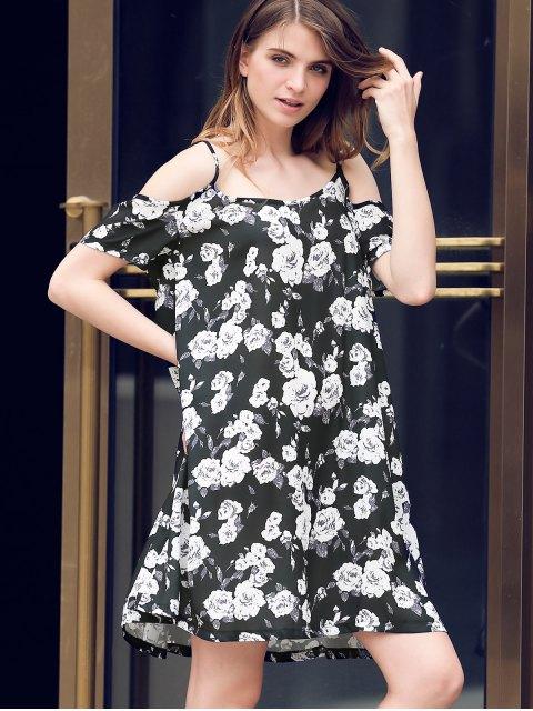 outfit Full Floral Print Cami A Line Dress - BLACK L Mobile