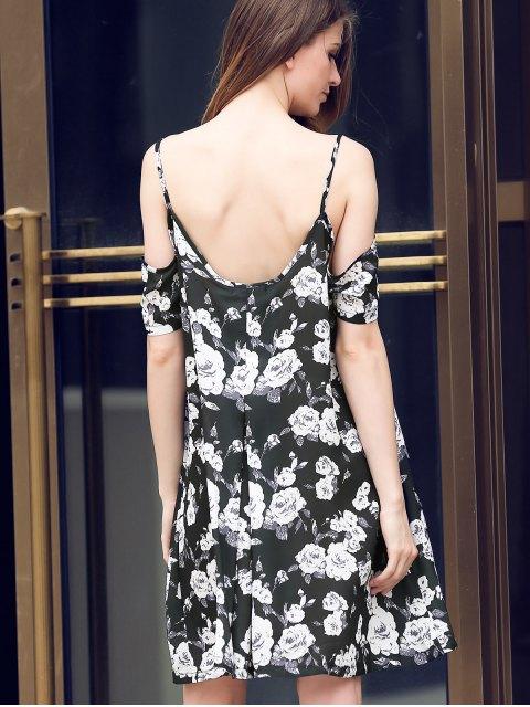 hot Full Floral Print Cami A Line Dress - BLACK M Mobile