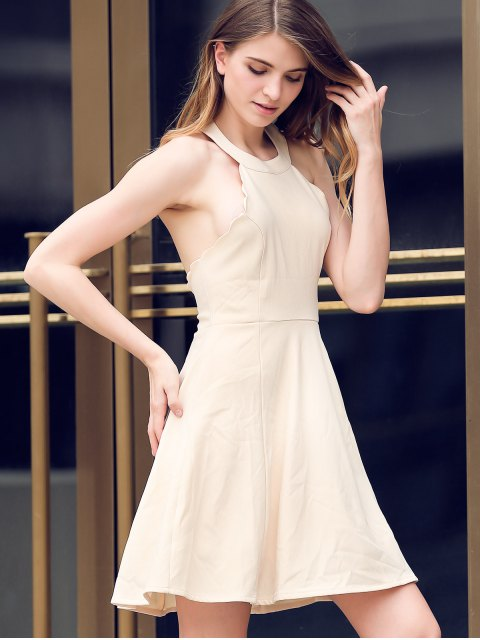 online Semi Formal Halter A Line Dress - BEIGE XL Mobile