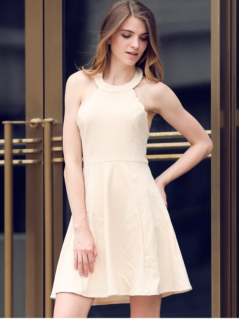 lady Semi Formal Halter A Line Dress - BEIGE M Mobile