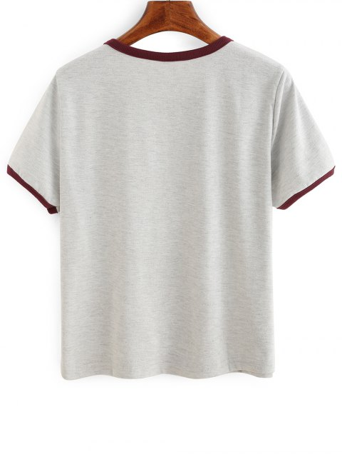 best Contrasting Piped Ringer T-Shirt - GRAY XL Mobile