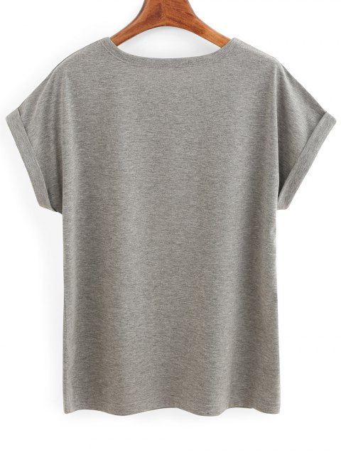trendy Rolled Sleeve Lettering T-Shirt - GRAY L Mobile