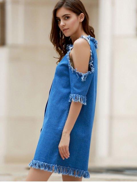 online Cut Out Frayed Denim Dress - BLUE M Mobile