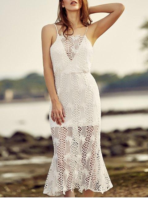 sale Backless Spaghetti Straps Openwork Lace Dress - WHITE XL Mobile