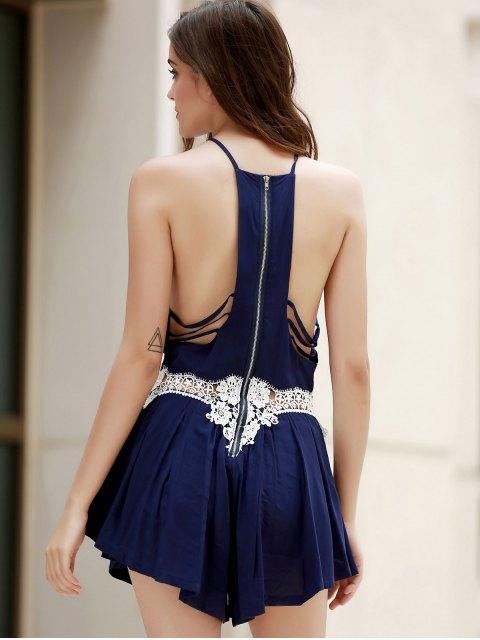 new Combined Lace Pleated Romper - CADETBLUE M Mobile