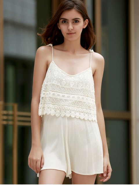 affordable Lace Splice aSpaghetti Strap Playsuit - WHITE M Mobile