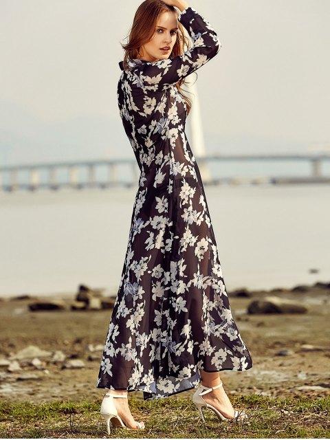 women Vintage Floral Print Shirt Collar Long Sleeve Dress - BLACK S Mobile