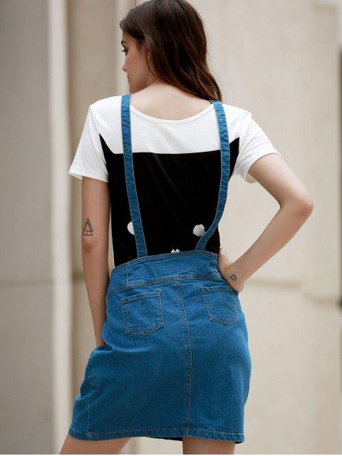 best Packet Buttocks Denim Suspender Skirt - BLUE L Mobile