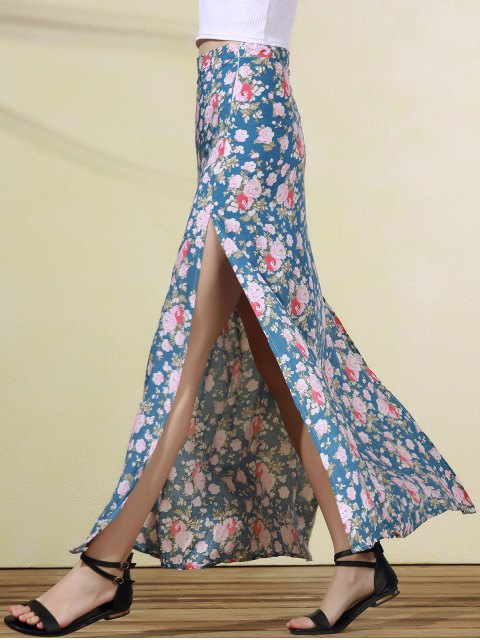 trendy High Slit Rose Print Skirt - BLUE M Mobile
