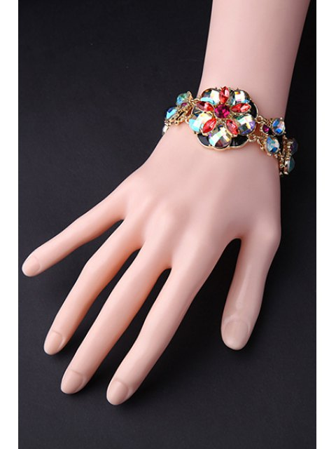 new Colored Rhinestone Flower Bracelet -   Mobile