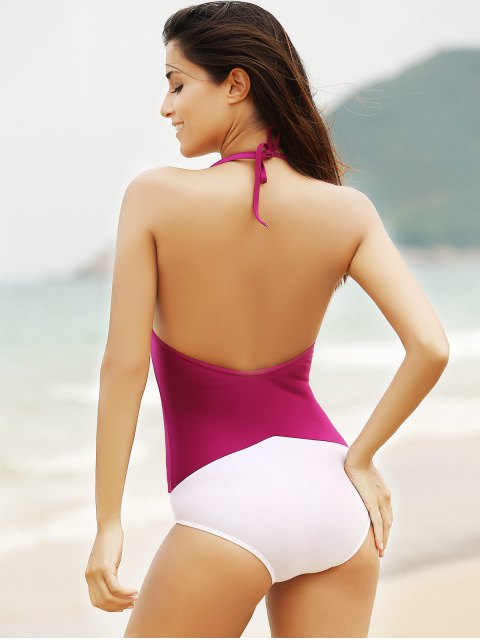 hot See-Through High Neck One Piece Swimwear - WINE RED S Mobile