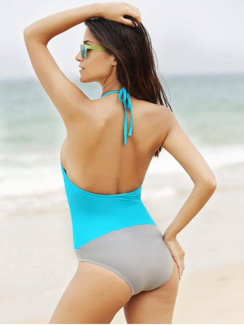 womens See-Through High Neck One Piece Swimwear - LIGHT BLUE S Mobile