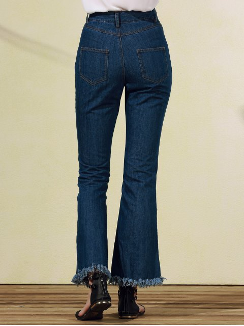 latest Frayed Blue Boot Cut Jeans - BLUE XL Mobile