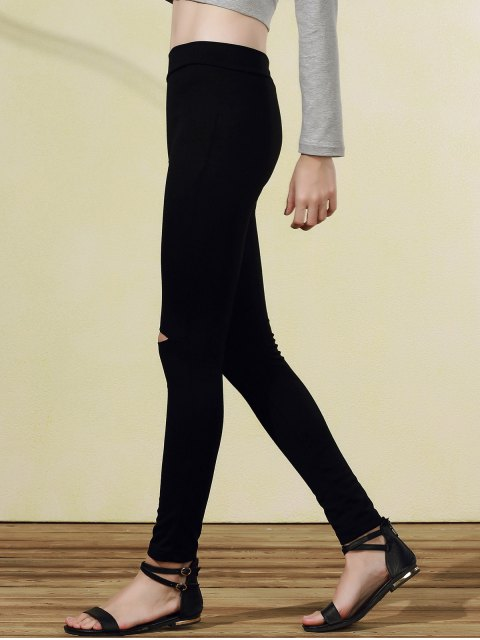 shops Ripped Casual Black Narrow Feet Pants - BLACK M Mobile