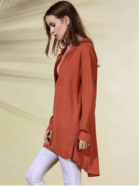 sale High-Low Plunging Neck Long Sleeve Dress - BRICK-RED M Mobile