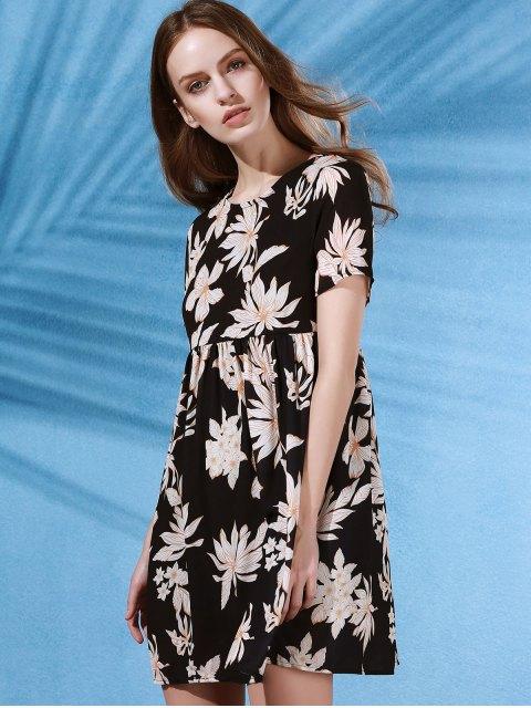 latest Round Collar Flower Print Short Sleeve Dress - BLACK S Mobile