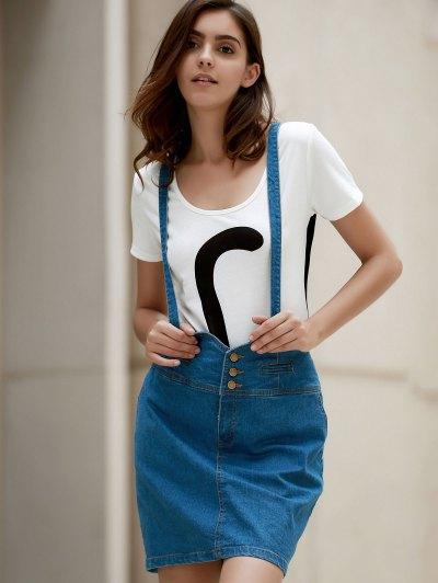 Packet Buttocks Denim Suspender Skirt - BLUE 2XL Mobile