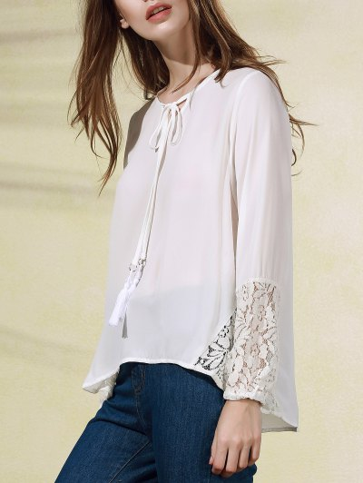 V Neck Long Sleeve White Lace Splice Blouse