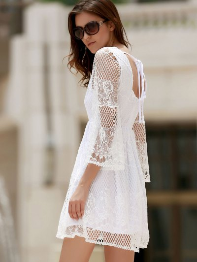 White Lace Mesh Splicing Square Neck Flare Sleeve Dress - WHITE S Mobile