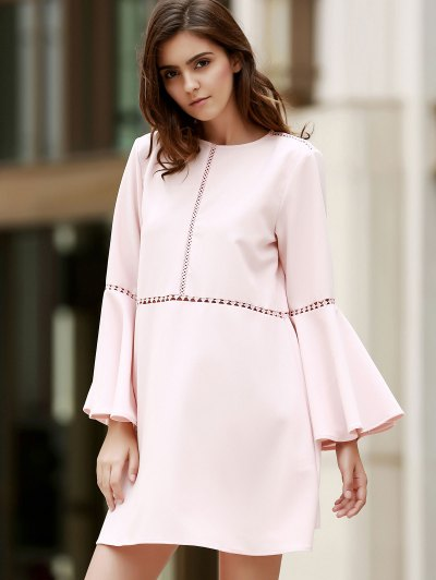 Loose Cut Out Round Neck Flare Sleeve Dress - PINK L Mobile