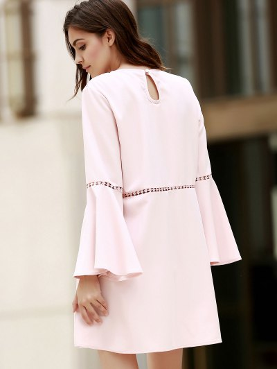 Loose Cut Out Round Neck Flare Sleeve Dress - PINK M Mobile