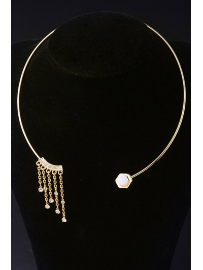 Tassel Geometry Design Necklace - GOLDEN  Mobile