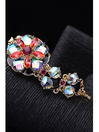 Colored Rhinestone Flower Bracelet - GOLDEN  Mobile