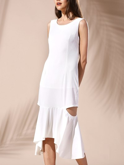 Hollow Out Mermaid Dress - White