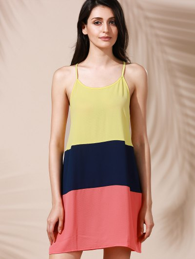 Color Block Mini Summer Dress - COLORMIX XL Mobile