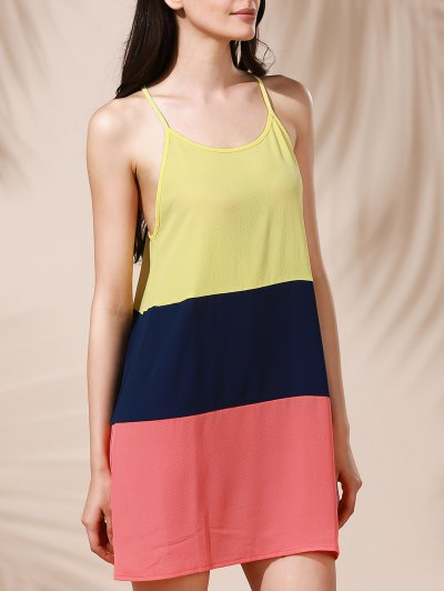 Color Block Mini Summer Dress - COLORMIX L Mobile