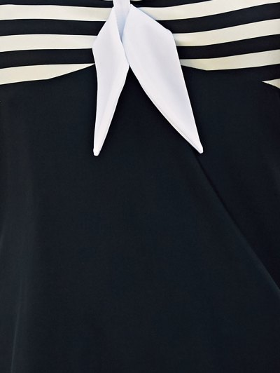 Halter One-Piece Striped Multi Convertible Way Swimwear - WHITE AND BLACK L Mobile