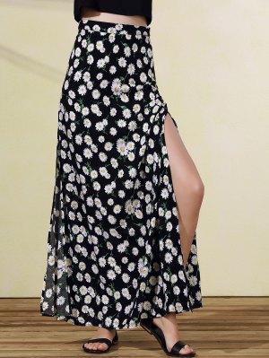 High Slit Tiny Floral Print Skirt - Black