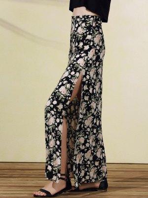 High Slit Rose Print Skirt - Black