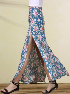 High Slit Rose Print Skirt - Blue