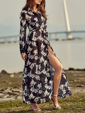 Vintage Floral Print Shirt Collar Long Sleeve Dress - Black