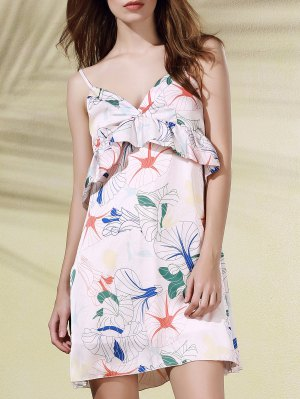Floral Print Flounce Ruffles Cami Sleeveless Dress - Pink L