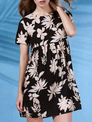 Round Collar Flower Print Short Sleeve Dress - Black