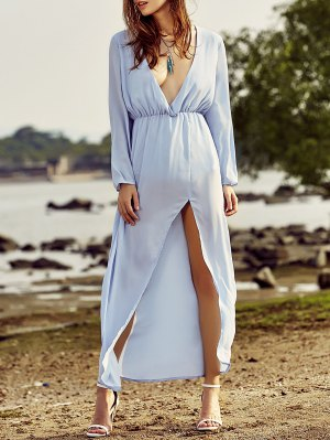 Long Sleeve High Slit Back Cut Out Maxi Dress - Light Blue