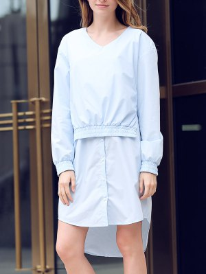 Solid Color Spliced V-Neck Long Sleeve Shirt Dress - Light Blue