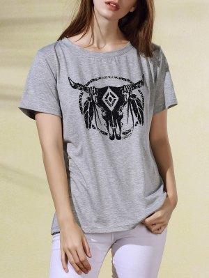 Short Sleeve Cartoon Print Round Collar T-Shirt - Light Gray