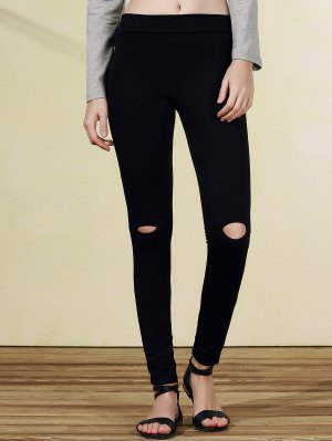 Ripped Casual Black Narrow Feet Pants - Black