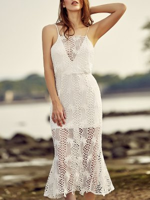 Backless Spaghetti Straps Openwork Lace Dress - White