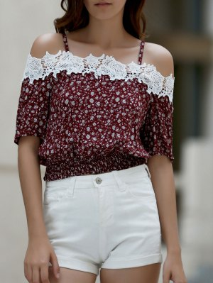 Tiny Floral Print Cami Short Sleeve Cold Shoulder T-Shirt - Red