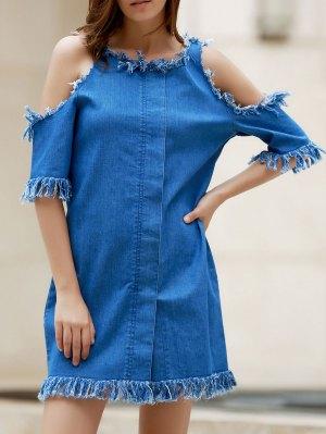 Cut Out Frayed Denim Dress - Blue